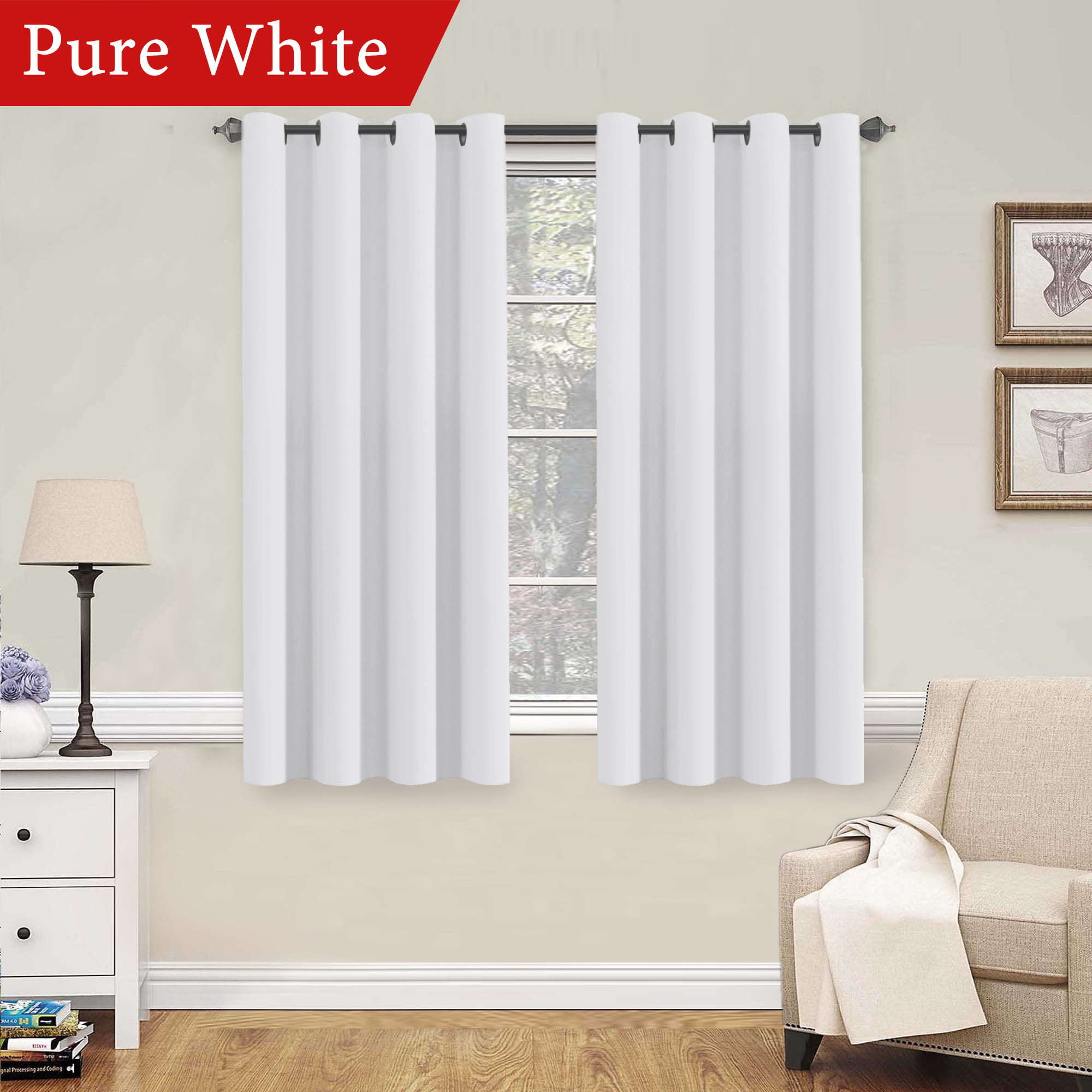 H.VERSAILTEX Pure White Curtains 63 Inch Length Window