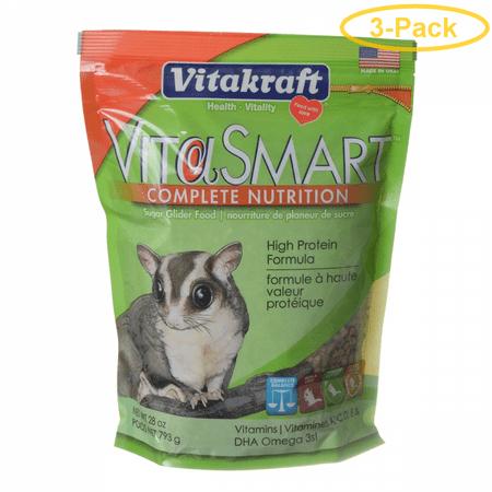 Vitakraft VitaSmart Complete Nutrition Sugar Glider Food 28 oz - Pack of 3 Sugar Glider Nutrition