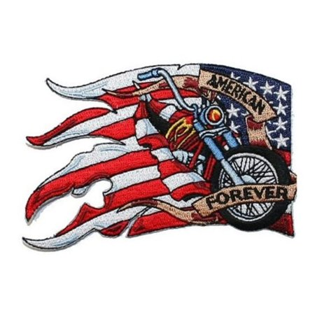 American Flag Biker Forever Patch USA Motorcycle Embroidered Iron On Applique