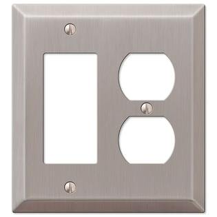 Single GFCI Decora Rocker and Single Duplex 2-Gang Wall Switch Plate, Satin Nickel Decora Style Rocker Wall Switch