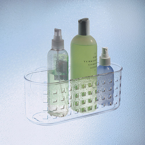 InterDesign Suction Bathroom Shower Caddy Basket for Shampoo, Conditioner, Soap, Clear