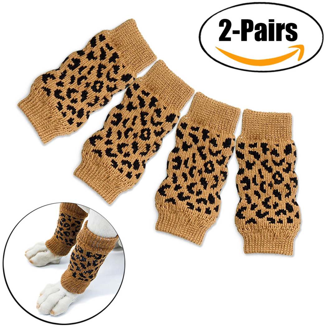 2 Pairs Dog Leg Warmers set, Legendog Anti-slip Knitted Pet Leg Warmers Pet Leg Socks for Dogs Cats