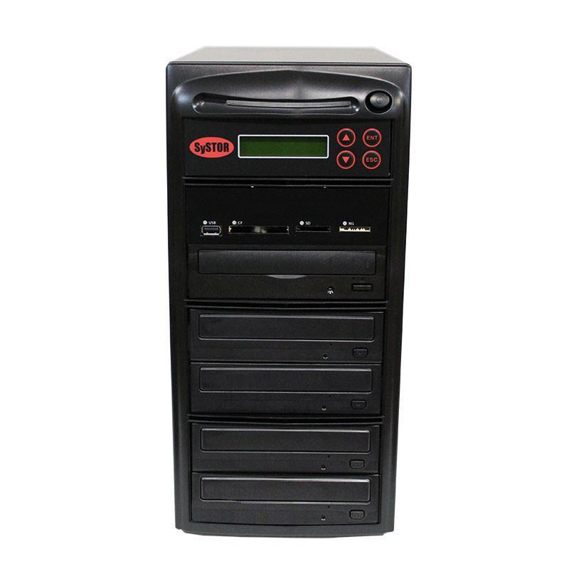 SySTOR 1:4 M-Disc Support CD DVD Duplicator + USB/SD/CF to Disc Backup Copier Tower