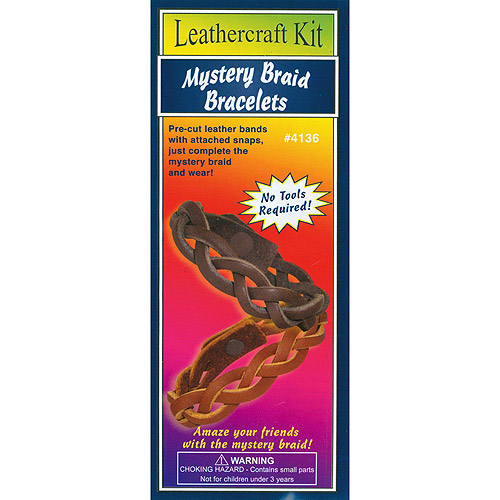 Leathercraft Kit Mystery Braid Bracelets, 2pk