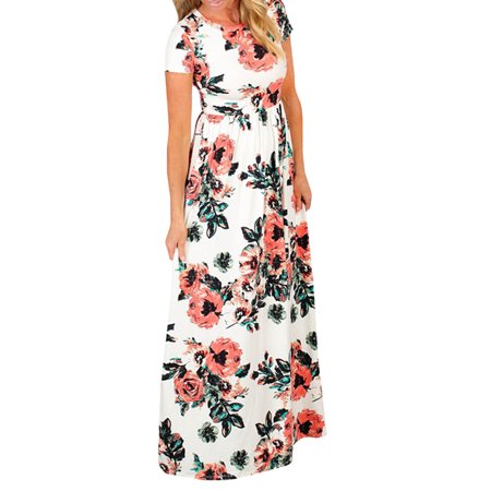 Women Floral Print Casual Short Sleeve Maxi Dress (Painted Dresses)