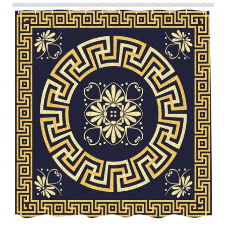 Greek Key Shower Curtain, Meander with Spring Inspired Floral Detail Rich and Retro Entangled Maze, Fabric Bathroom Set with Hooks, 69W X 70L Inches, Dark Blue Yellow, by Ambesonne