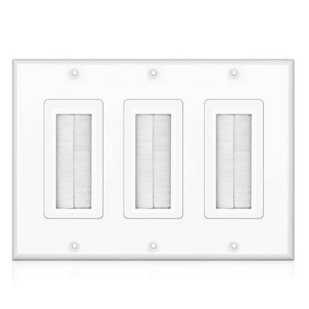 Brush Wall Plate - Triple 3 Gang Cable Entry Access Brush Bristles Style Strap Opening Port Insert Socket Wiring Plug Jack Decorative Face Cover Outlet Mount Panel (White) (Cable Entry Brush)