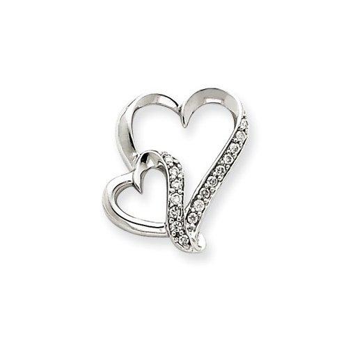 Jewelryweb 14k White Gold Heart Pendant