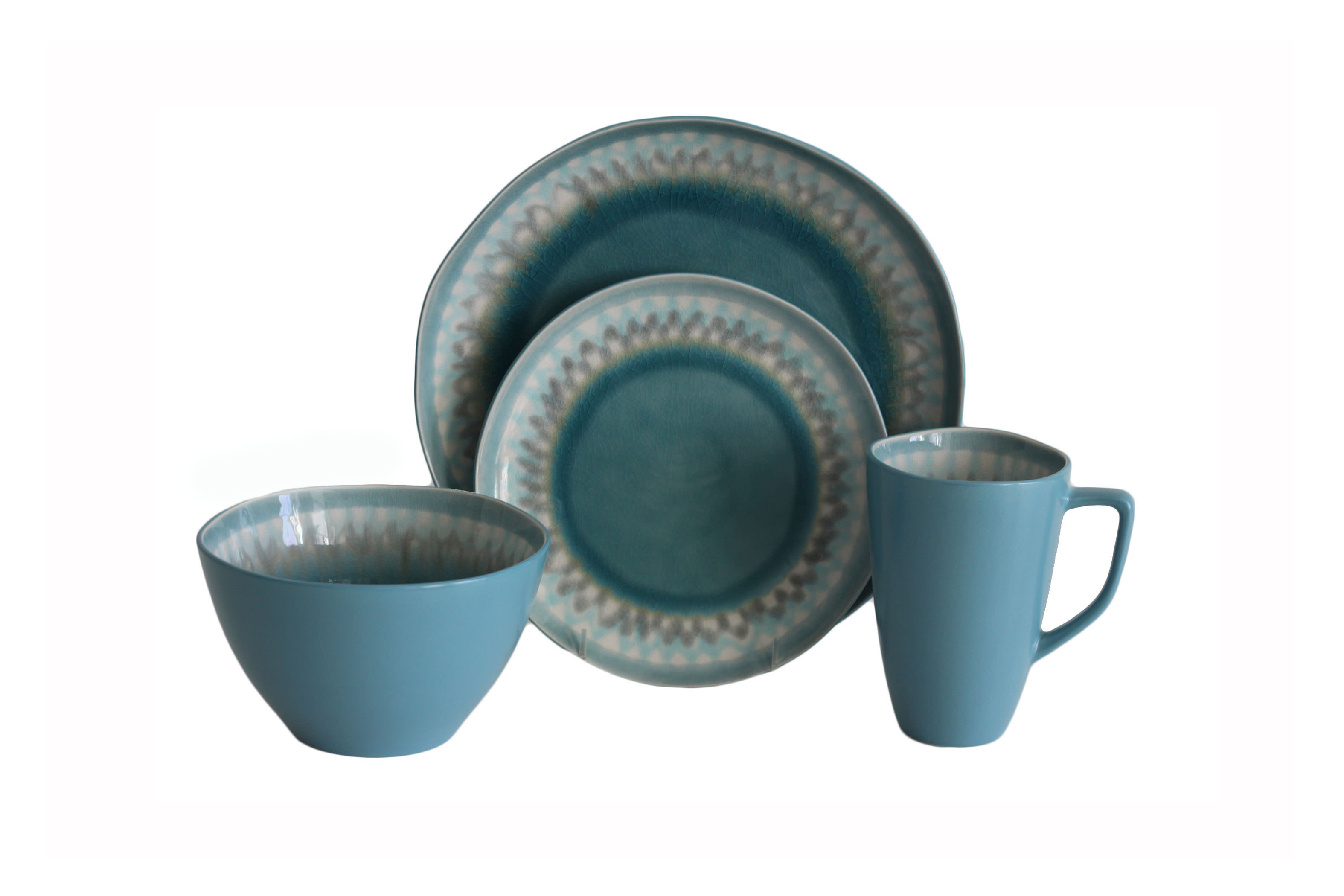 Baum Aqua Blue Burst 16-Piece Dinnerware Set by Baum Brothers Imports