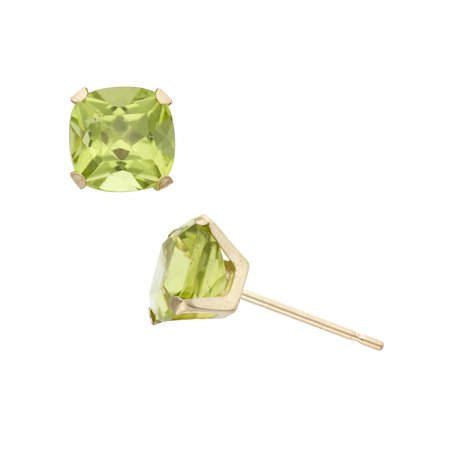 Emerald Cut Peridot Post Earrings - 2 Carat T.G.W. Peridot 10kt Yellow Gold 6mm x 6mm Cushion-Cut Post Earrings