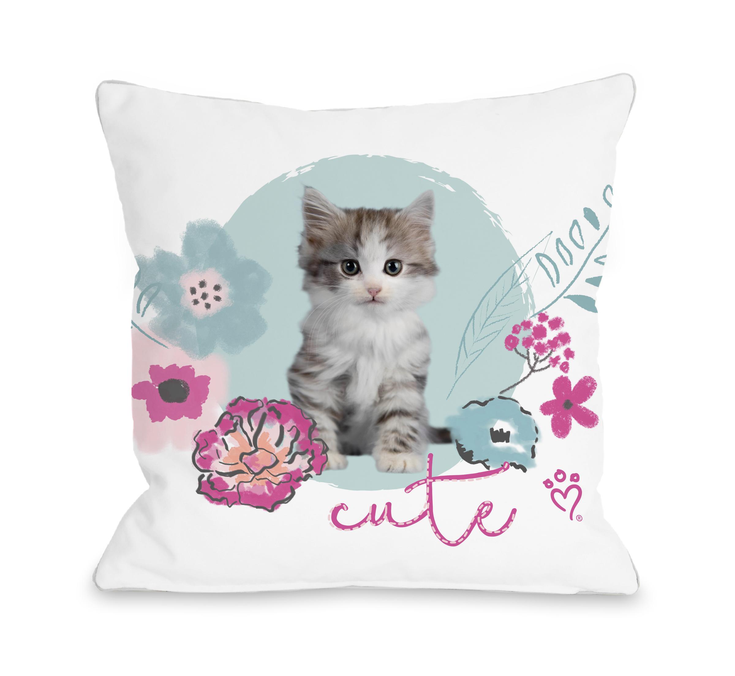Cute Kitten - Multi 16x16 Pillow by Rachael Hale