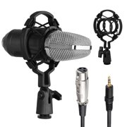Condenser Microphone Bundle, EEEkit Mic Kit with Anti-Shock Mount, Metal Condenser Microphone & 3.5mm to XLR Cable for Studio Recording & Broadcasting