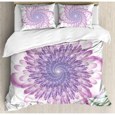 3132826e6a08 Ambesonne Spires Digital Floral Harmonic Spirals with Flourish Hypnotic  Vision Petals Dream Print Duvet Cover Set - Walmart.com