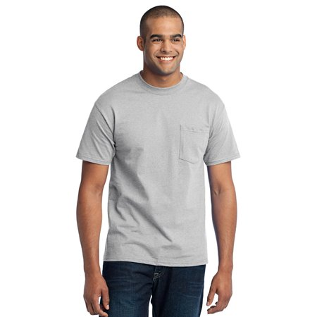 - Port Company PC55P Mens Classic Pocket T-Shirt - Ash - S