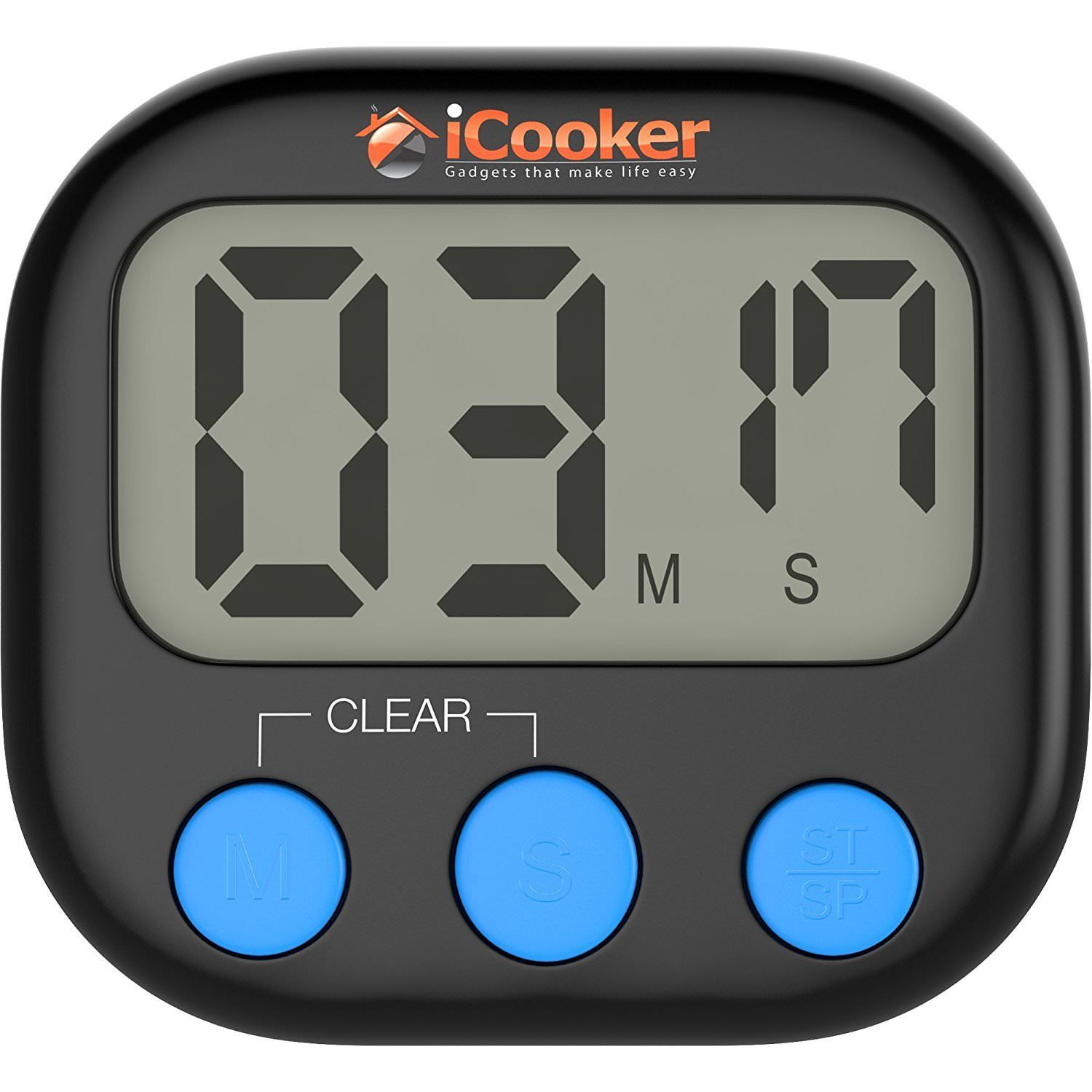 Digital Kitchen Timer [Magnetic Back] Large LCD Cooking and Baking  W/Count-Down-Classroom Sports Counter Alarm Black