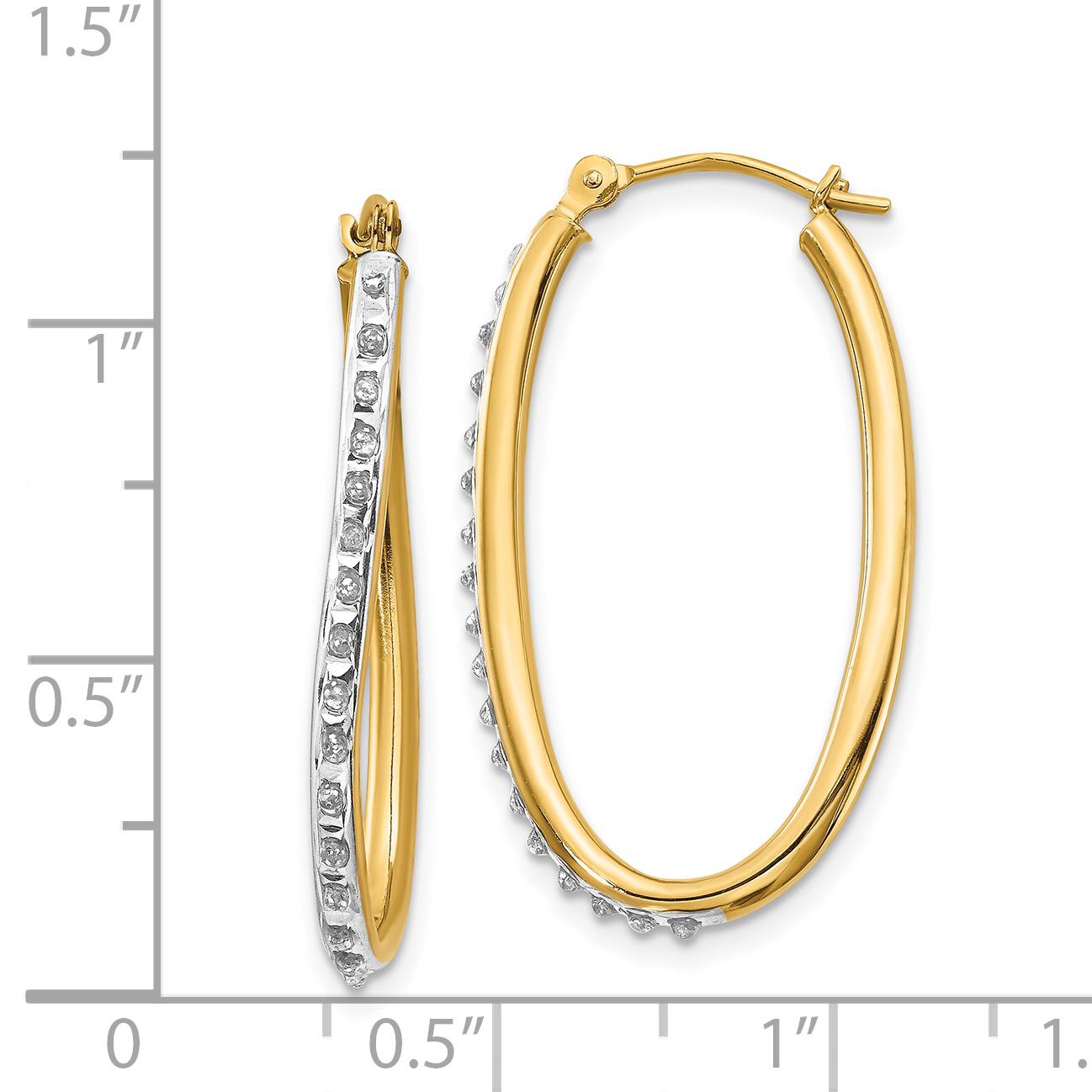 14k Yellow Gold Diamond Fascination Oval Twist Hoop Earrings Ear Hoops Set Fine Jewelry Gifts For Women For Her - image 1 de 2