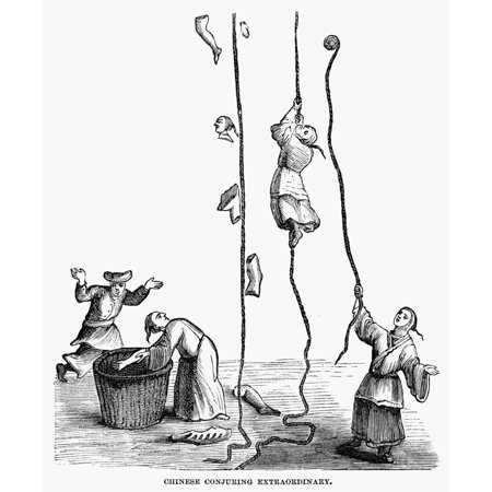 Chinese Conjurers Nchinese Conjurers As Described By 14Th Century Arabian Traveler Ibn Battuta One Man Climbs A Rope Into The Sky At Left Are Disconnected Body Parts That Were Put Back Together And Ca ()