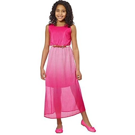 Paper Doll Girls' Dress with braided belt - Fuchsia (Size 12)](Girls Dresses 12)