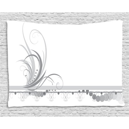 Grey Tapestry, Ornament Border with Artistic Swirls Dots in Rococo Style Renaissance Details, Wall Hanging for Bedroom Living Room Dorm Decor, 60W X 40L Inches, Pale Grey White, by Ambesonne