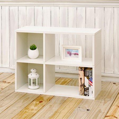 Chelsea Hotel Shelf - Way Basics Eco 2-Shelf Chelsea Bookcase and Cubby Storage, White