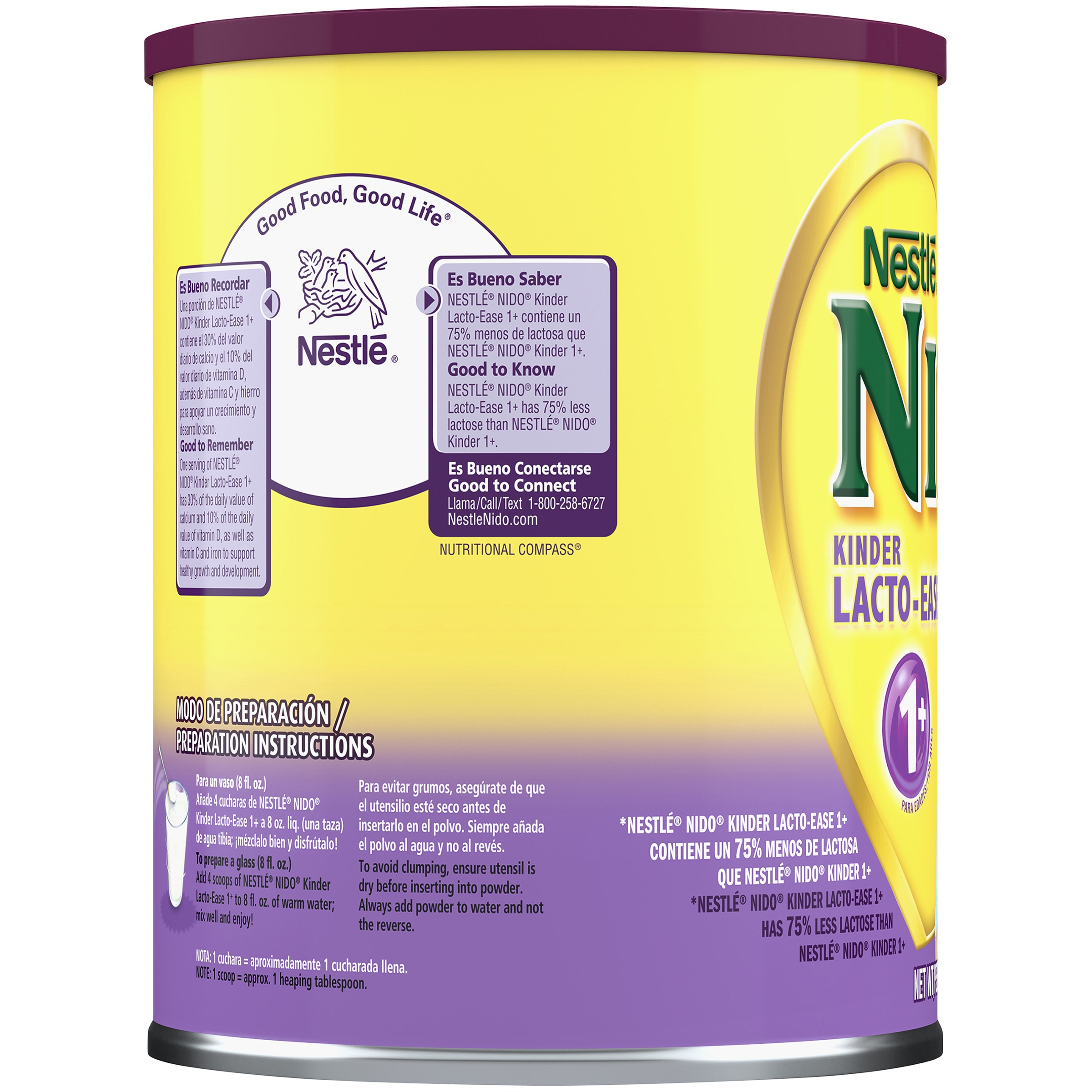 Nestle NIDO Lacto-Ease Whole Milk Powder 1 76 lb  Canister | Reduced