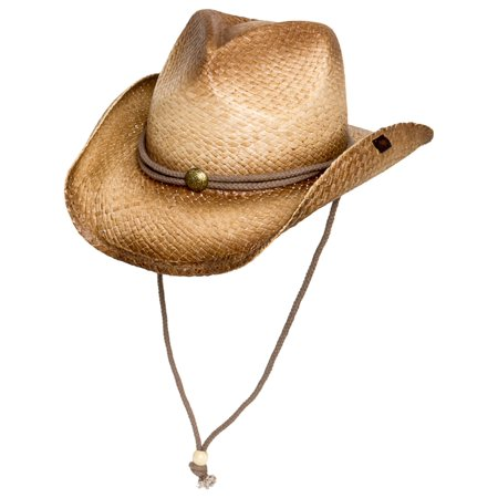 Ombre Straw Round Up Authentic Cowboy Hat w/ Moisture Wicking Band (Straw Cowboy Hat)
