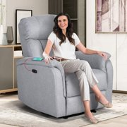 EUROCO Living Room Power Motion Recliner with USB Charge Port Soft Fabric Upholstery Lounge Chair
