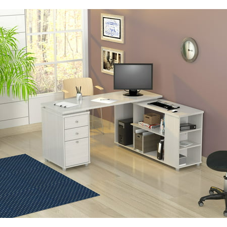 Inval Contemporary Laricina-white L-Shaped Computer Work Center (Inval L Shaped Desk)