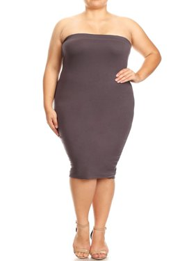 633fe48246 Product Image NEW MOA Women s Plus Size Solid Strapless Off the Shoulder Bodycon  Midi Tube Dress Made