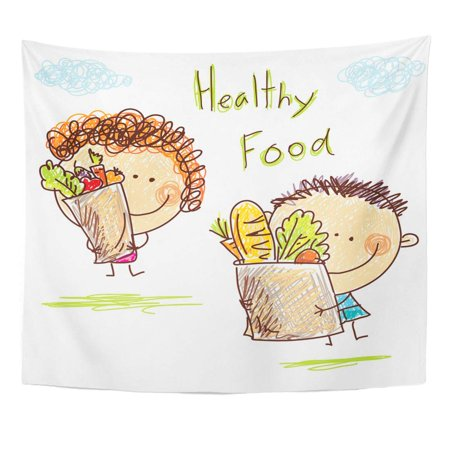 UFAEZU Child Little Boy and Girl is Holding Large Food Wall Art Hanging Tapestry Home Decor for Living Room Bedroom Dorm 51x60