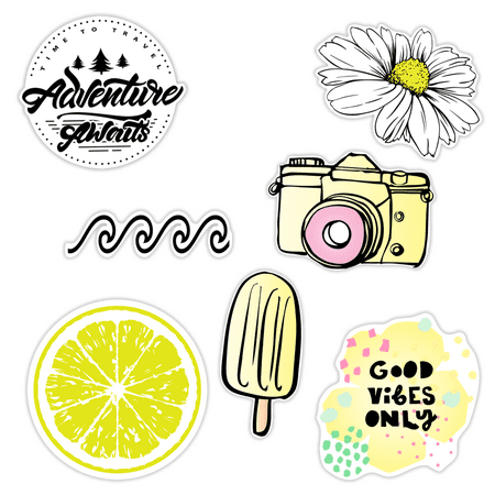 7 Pack -Cute Beach Aloha Vibes Sticker Packs, Great Accessories for Waterproof Water Bottle Stickers, Laptop, Hydro Flask Stickers, Phones, Ocean Flower Sea Designs Sea World Epoxy Stickers