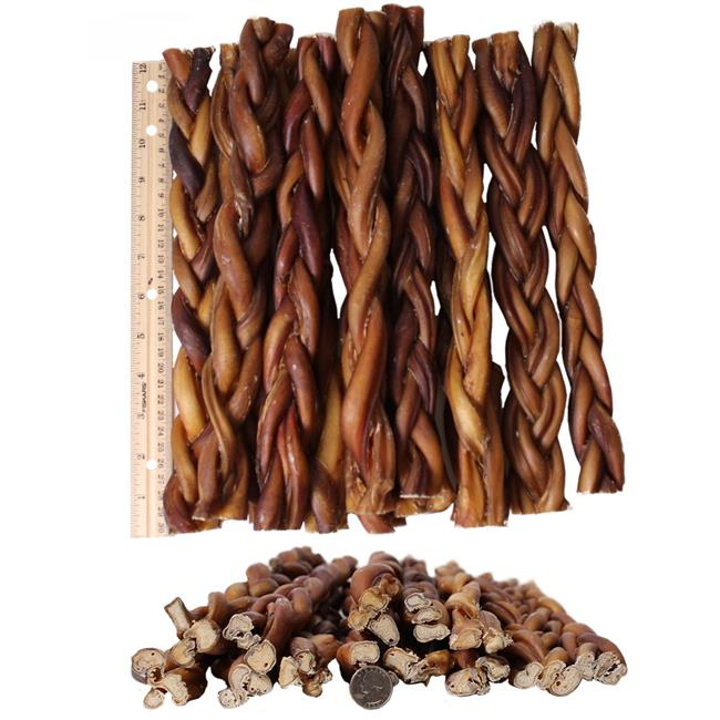 Pets Choice Pharmaceuticals 031CW-PZ-12B-12PK Braided Bully Dogs Sticks 12 in. Premium All Natural Pizzle Chews, Pack of 12