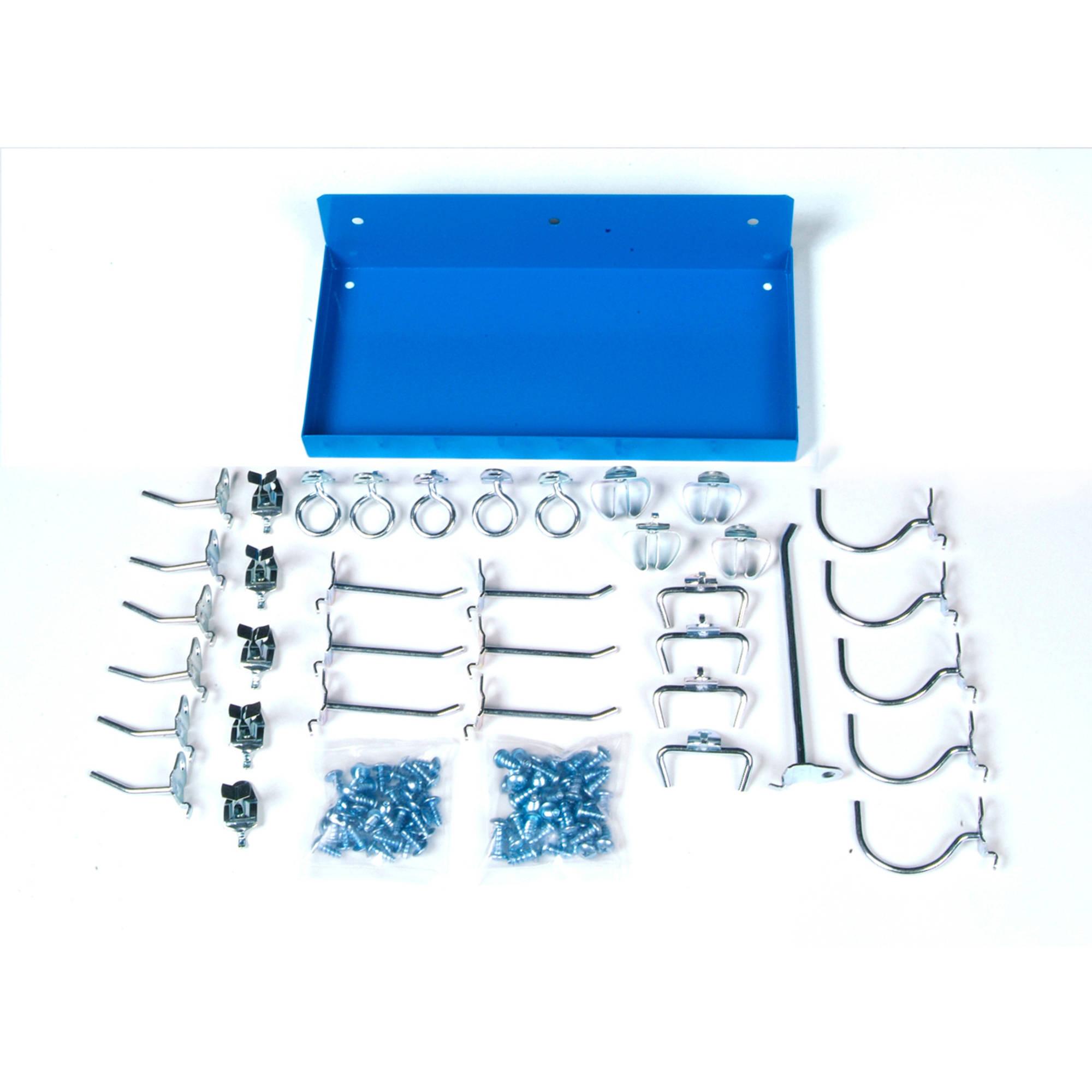 "DuraHook 12""W x 6"" Deep Blue Epoxy Coated Locking Steel Pegboard Shelf with 36-Piece DuraHook Locking Pegboard Hook Assortment"