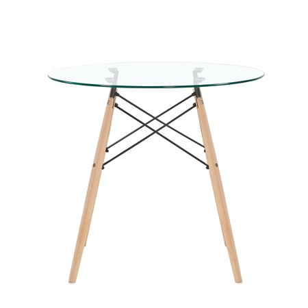 Mcombo Dining Table Round Clear Glass Table Modern Style Table for Kitchen Dining Room Coffee Table with Wood - Glass Round Dining Room Table