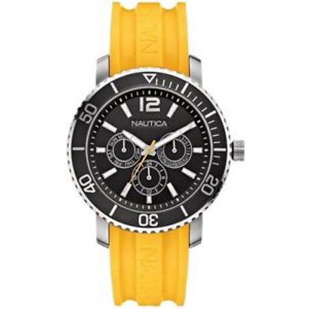 Details about A16643G Watch Round Black Dial Stainless Steel Case Yellow Rubber Strap