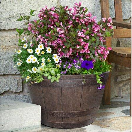 Fleur De Lis Living Burse 9.21'' x 15.51'' Whiskey Barrel Resin Pot Planter