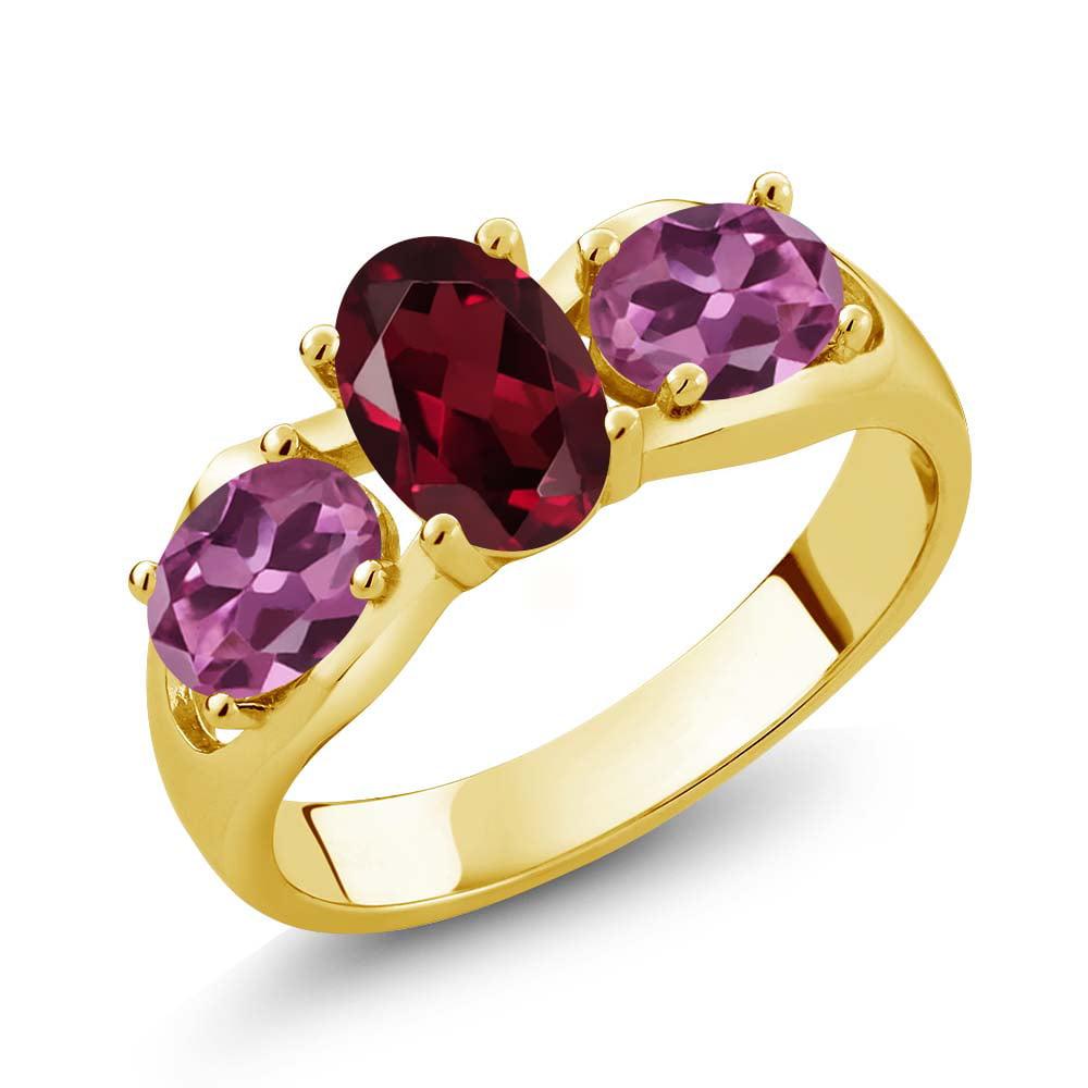 1.90 Ct Oval Red Rhodolite Garnet Pink Tourmaline 18K Yellow Gold Ring by