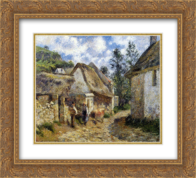 Camille Pissarro 2x Matted 24x20 Gold Ornate Framed Art Print 'A Street in Auvers (Thatched Cottage and Cow)'