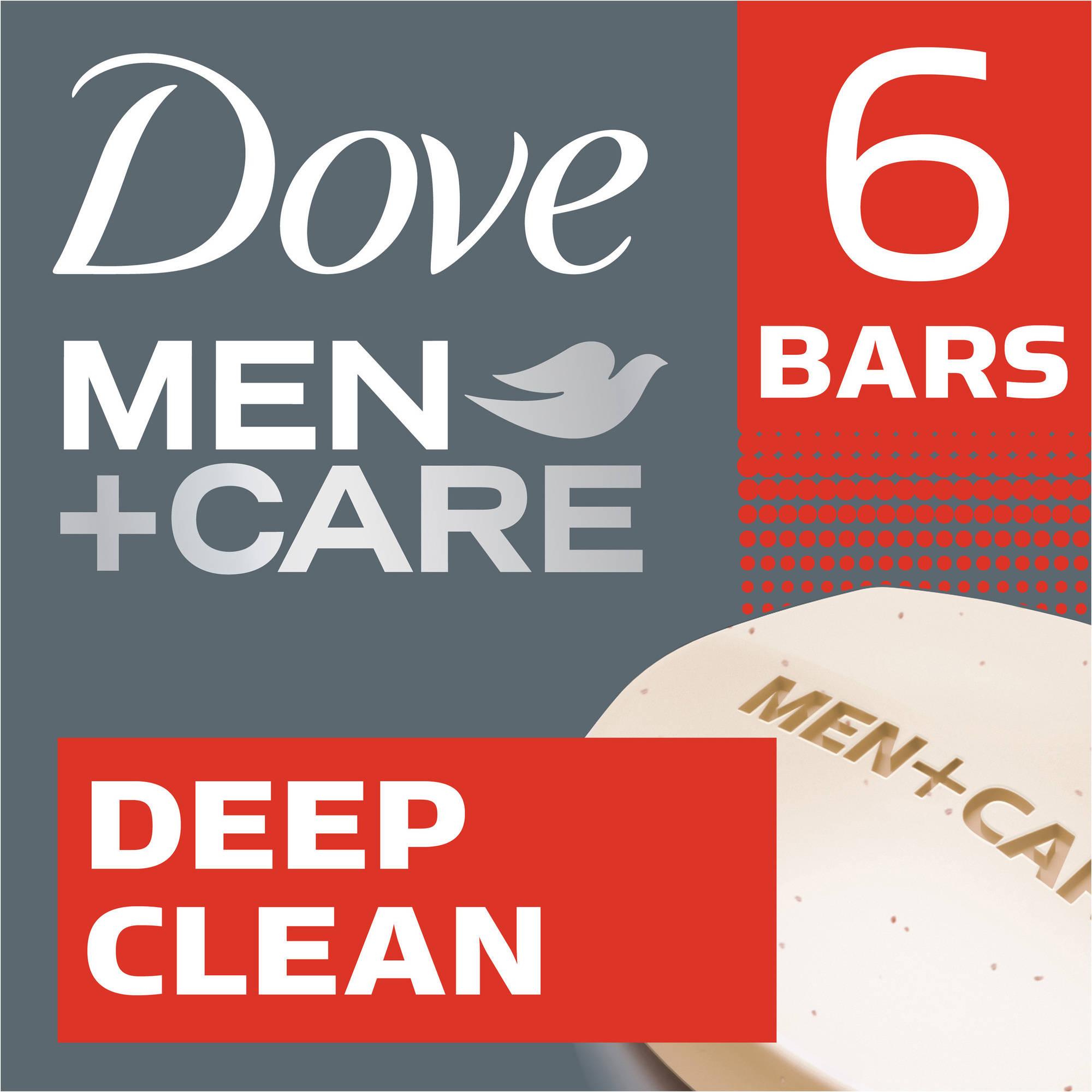 Dove Men+Care Deep Clean Body and Face Bar, 4 oz, 6 Bar