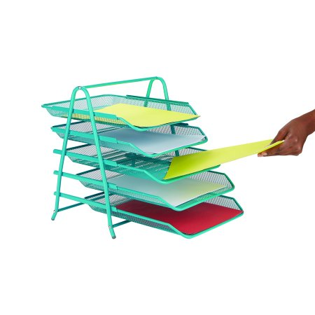 Mind Reader Desk Organizer with 5 Sliding Trays for Letters, Documents, Mail, Files, Paper, Turquoise (Mail Tray)