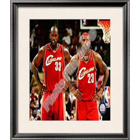 Shaquille Oneal Frame (LeBron James & Shaquille O'Neal Framed Photographic Print Wall Art  - 27x23 )