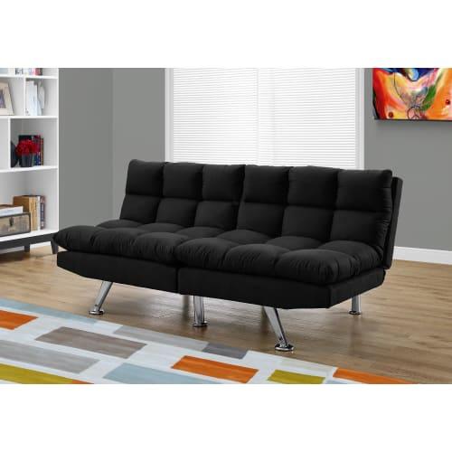 Futon Split Back Click Clack Convertible Sofa Bed Sleeper Couch Studio Sit Black