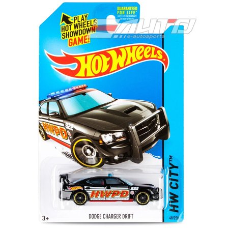 (2014 Hot Wheels Hw City 48/250 - Dodge Charger Drift - Black by, 1:62 scale die-cast By Mattel)