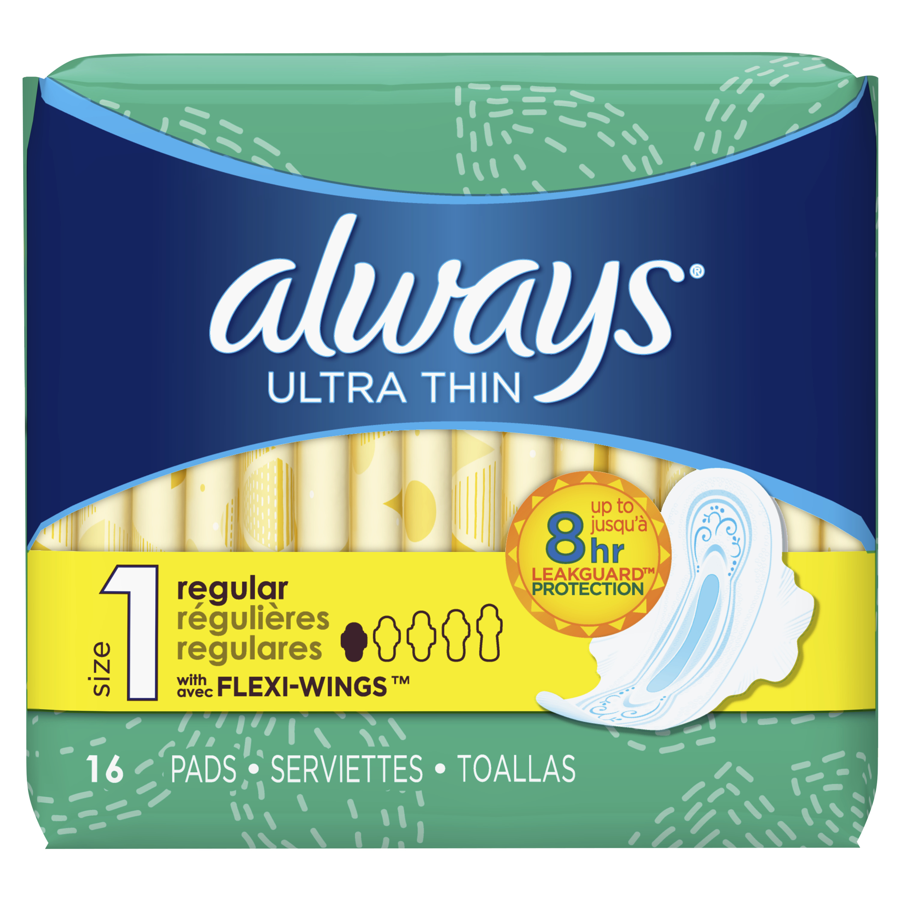 Always Ultra Thin, Size 1, Regular Pads With Wings, Unscented 16 Count