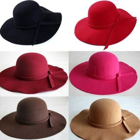 Bowler Hat Kids (HOT! Vintage Women Wide Brim Floppy Warm Fashion Felt Hat Trilby Bowler)