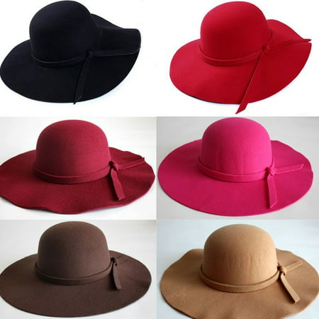 HOT! Vintage Women Wide Brim Floppy Warm Fashion Felt Hat Trilby Bowler