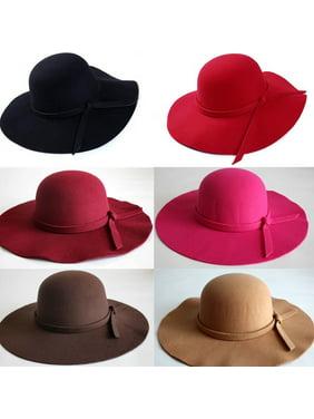 HOT! Vintage Women Wide Brim Floppy Warm Fashion Felt Hat Trilby Bowler Cool