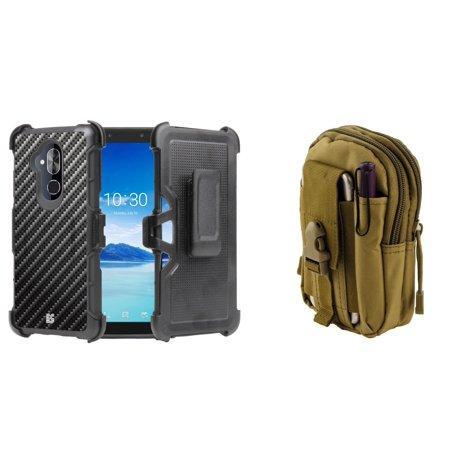 Tactical Carbon Fiber (BC Rugged Dual Layer Armor Kickstand Holster Case (Carbon Fiber) with Khaki Tactical EDC MOLLE Waist Bag Holder Pouch and Atom Cloth for Alcatel 7 (MetroPCS))