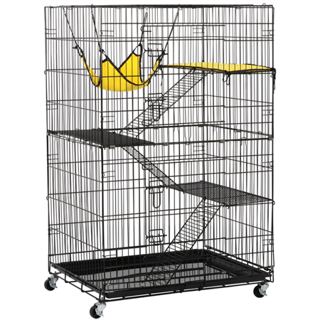 Yaheetech 4 Tier Foldable Cat Home Cages Wire Pet Crate House With