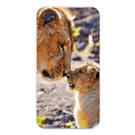 Apple Iphone Custom Case 5 5s Snap on - Cute Mom & Cub Lions Rubbing Noses